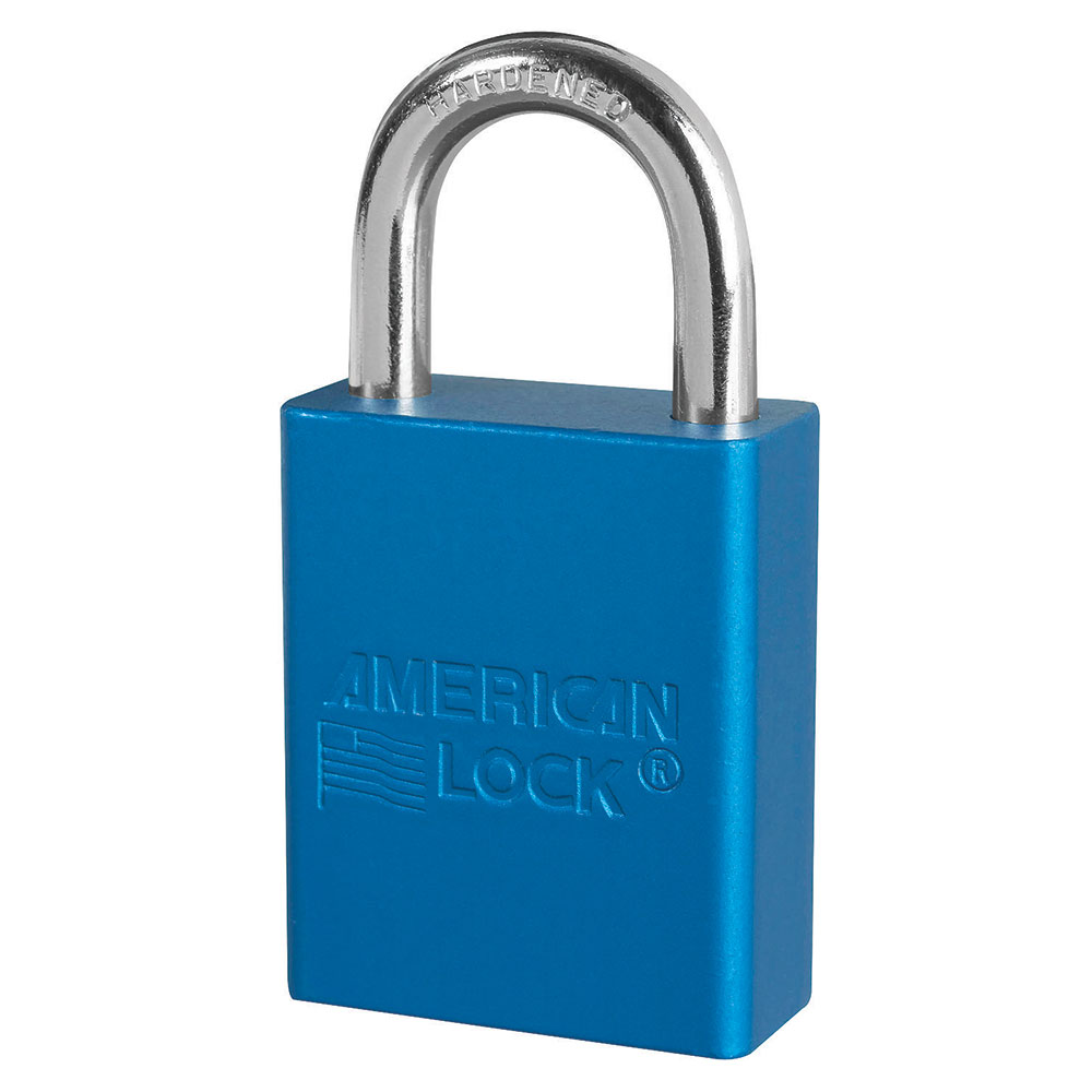 A1105KABLU - Blue Anodized Aluminum Safety Padlock, 1-1/2in (38mm) Wide with 1in (25mm) Tall Shackle, Keyed Alike-Keyed-MasterPadlocks.com (LIVE)