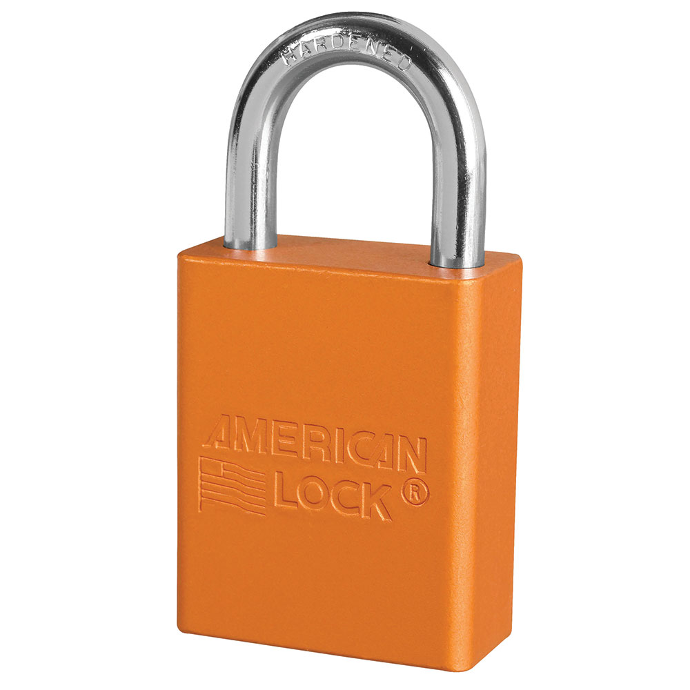 A1105MKORJ - Orange Anodized Aluminum Safety Padlock, 1-1/2in (38mm) Wide with 1in (25mm) Tall Shackle, Master Keyed-Keyed-MasterPadlocks.com (LIVE)