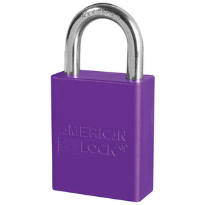 A1105KAPRP - Purple Anodized Aluminum Safety Padlock, 1-1/2in (38mm) Wide with 1in (25mm) Tall Shackle, Keyed Alike