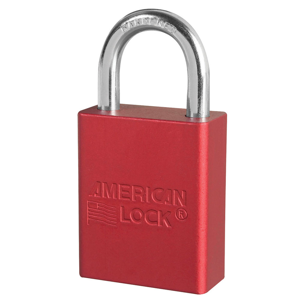 A1105KARED - Red Anodized Aluminum Safety Padlock, 1-1/2in (38mm) Wide with 1in (25mm) Tall Shackle, Keyed Alike