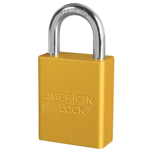 A1105YLW - Yellow Anodized Aluminum Safety Padlock, 1-1/2in (38mm) Wide with 1in (25mm) Tall Shackle