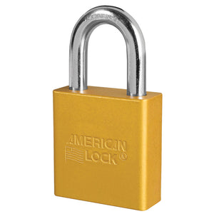 A1205KAYLW - 1-3/4in (44mm) Yellow Solid Aluminum Rekeyable Pin Tumbler Padlock, Keyed Alike
