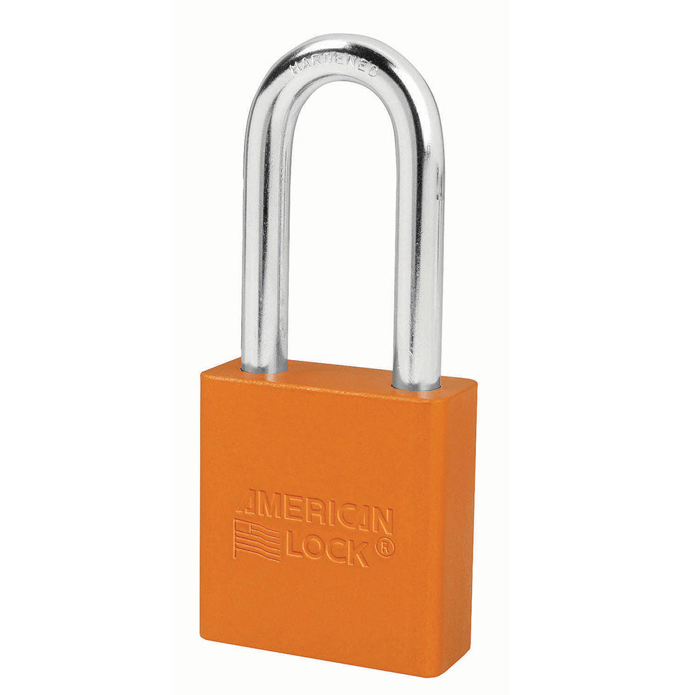 A1206ORJ - 1-3/4in (44mm) Orange Solid Aluminum Rekeyable Pin Tumbler Padlock with 2in (51mm) Shackle-Keyed-MasterPadlocks.com (LIVE)