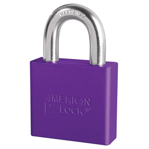 A1305PRP - 2in (51mm) Purple Solid Aluminum Rekeyable Pin Tumbler Padlock-Keyed-MasterPadlocks.com (LIVE)