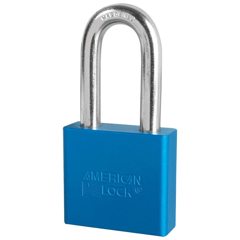 A1306BLU - 2in (51mm) Blue Solid Aluminum Rekeyable Pin Tumbler Padlock with 2in (51mm) Shackle-Keyed-MasterPadlocks.com (LIVE)