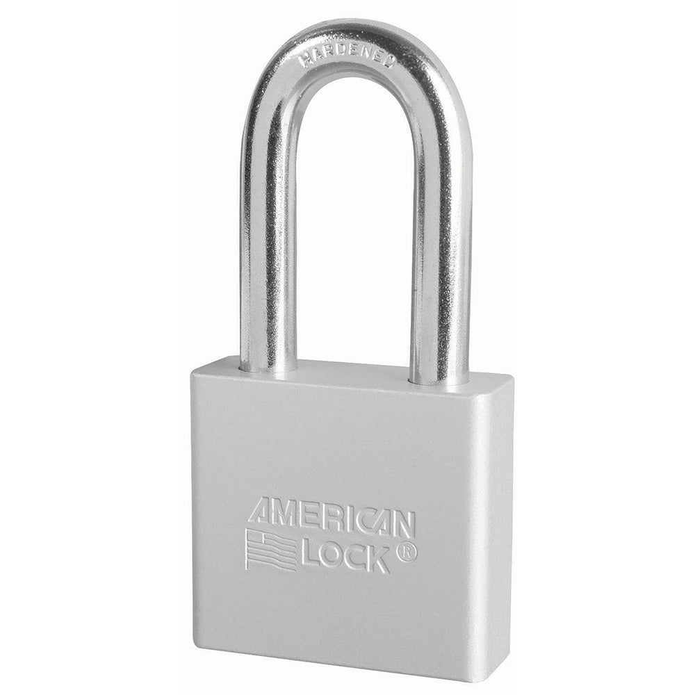 A1306CLR - 2in (51mm) Silver Solid Aluminum Rekeyable Pin Tumbler Padlock with 2in (51mm) Shackle-Keyed-MasterPadlocks.com (LIVE)