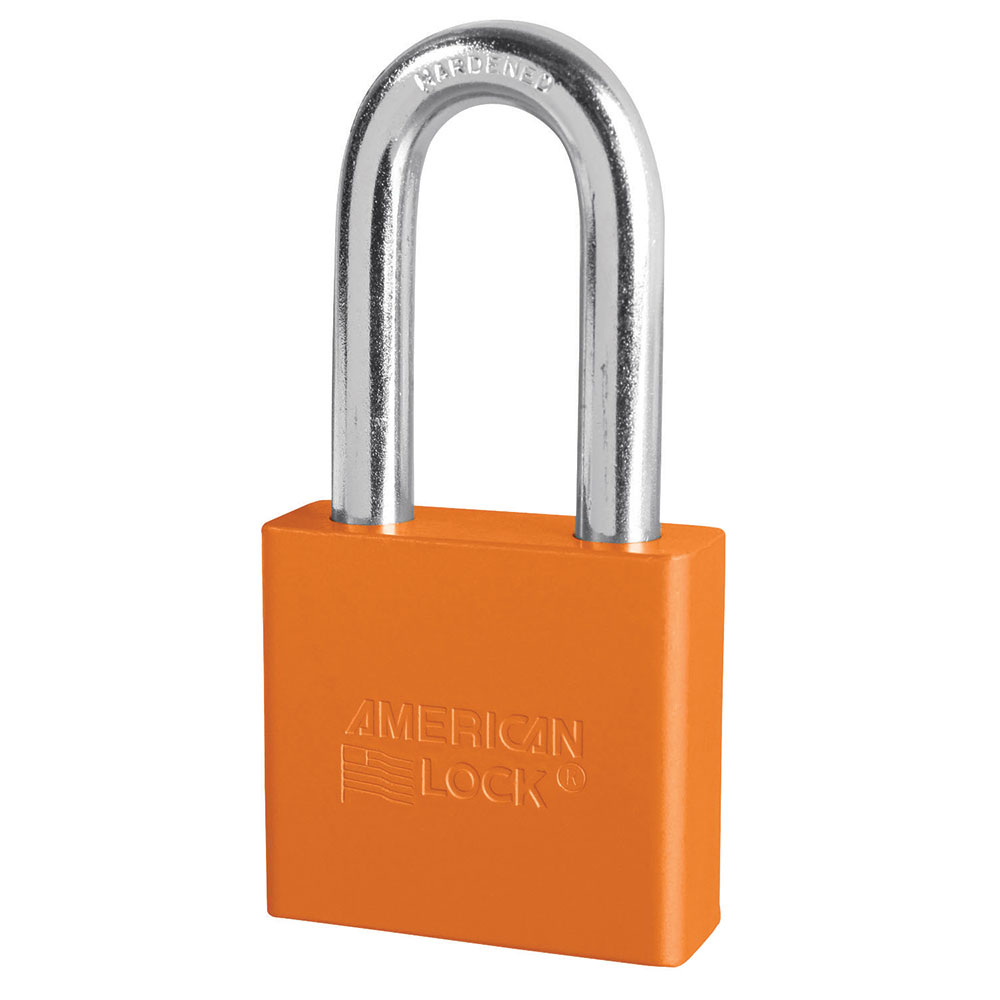 A1306ORJ - 2in (51mm) Orange Solid Aluminum Rekeyable Pin Tumbler Padlock with 2in (51mm) Shackle-Keyed-MasterPadlocks.com (LIVE)