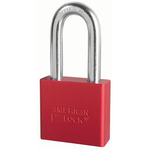 A1306RED - 2in (51mm) Red Solid Aluminum Rekeyable Pin Tumbler Padlock with 2in (51mm) Shackle-Keyed-MasterPadlocks.com (LIVE)