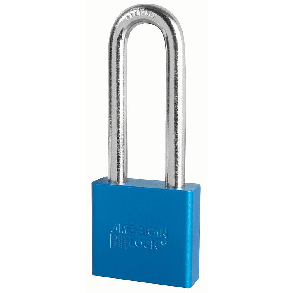 A1307BLU - 2in (51mm) Blue Solid Aluminum Rekeyable Pin Tumbler Padlock with 3in (76mm) Shackle