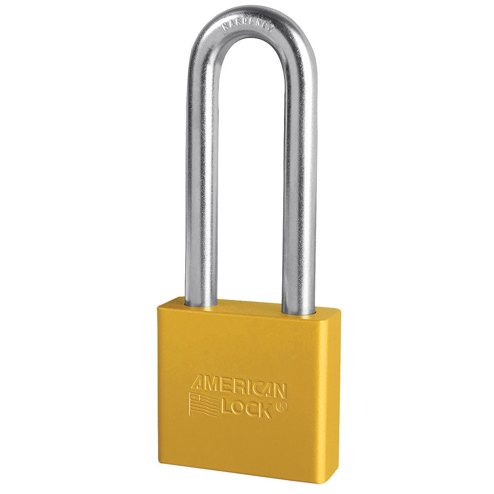 A1307YLW - 2in (51mm) Yellow Solid Aluminum Rekeyable Pin Tumbler Padlock with 3in (76mm) Shackle-Keyed-MasterPadlocks.com (LIVE)