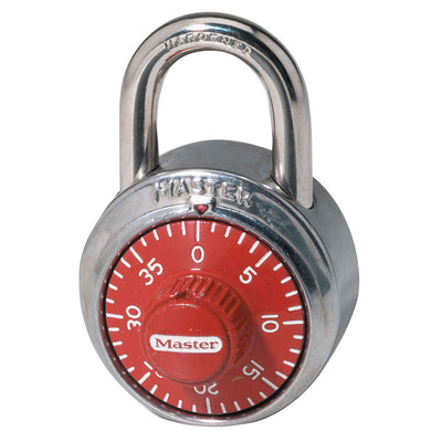1504D - 1-7/8in (48mm) Wide Combination Dial Padlock; Red Dial
