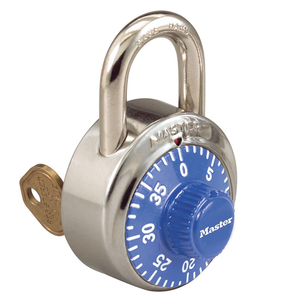 1525BLU - 1-7/8in (48mm) General Security Combination Padlock with Key Control Feature and Blue Colored Dial-Combination-MasterPadlocks.com (LIVE)