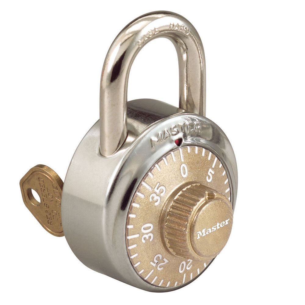 1525GLD - 1-7/8in (48mm) General Security Combination Padlock with Key Control Feature and Gold Colored Dial-Combination-MasterPadlocks.com (LIVE)