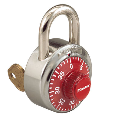 1525RED - 1-7/8in (48mm) General Security Combination Padlock with Key Control Feature and Red Colored Dial
