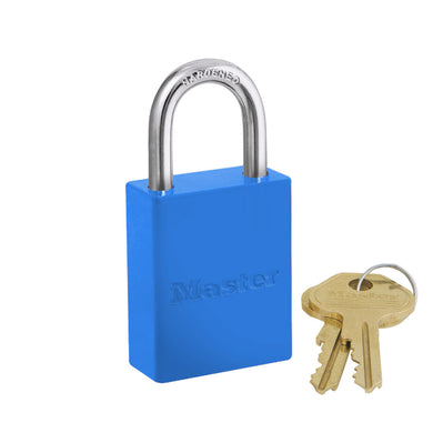 6835KABLU - Blue Powder Coated Aluminum Safety Padlock, 1-1/2in (38mm) Wide with 1in (25mm) Tall Shackle, Keyed Alike-Keyed-MasterPadlocks.com (LIVE)