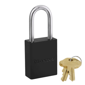6835KALFBLK - Black Powder Coated Aluminum Safety Padlock, 1-1/2in (38mm) Wide with 1-1/2in (38mm) Tall Shackle, Keyed Alike-Keyed-MasterPadlocks.com (LIVE)