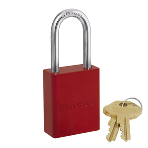 6835KALFRED - Red Powder Coated Aluminum Safety Padlock, 1-1/2in (38mm) Wide with 1-1/2in (38mm) Tall Shackle, Keyed Alike-Keyed-MasterPadlocks.com (LIVE)