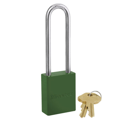 6835KALTGRN - Green Powder Coated Aluminum Safety Padlock, 1-1/2in (38mm) Wide with 3in (76mm) Tall Shackle, Keyed Alike-Keyed-MasterPadlocks.com (LIVE)