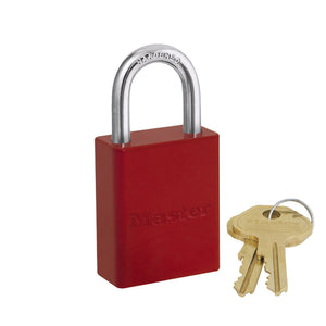 6835KARED - Red Powder Coated Aluminum Safety Padlock, 1-1/2in (38mm) Wide with 1in (25mm) Tall Shackle, Keyed Alike-Keyed-MasterPadlocks.com (LIVE)