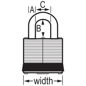 3KALFBLK - Black Laminated Steel Safety Padlock, 1-9/16in (40mm) Wide with 1-1/2in (38mm) Tall Shackle, Keyed Alike-Keyed-MasterPadlocks.com (LIVE)