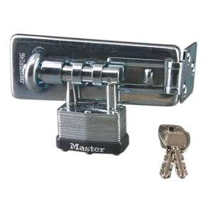 450D - 4-1/2in (11cm) Long Hardened Steel Hasp with Integrated 1-3/4in (44mm) Wide Laminated Steel Padlock
