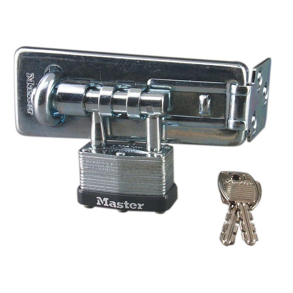 450D - 4-1/2in (11cm) Long Hardened Steel Hasp with Integrated 1-3/4in (44mm) Wide Laminated Steel Padlock-Keyed-MasterPadlocks.com (LIVE)