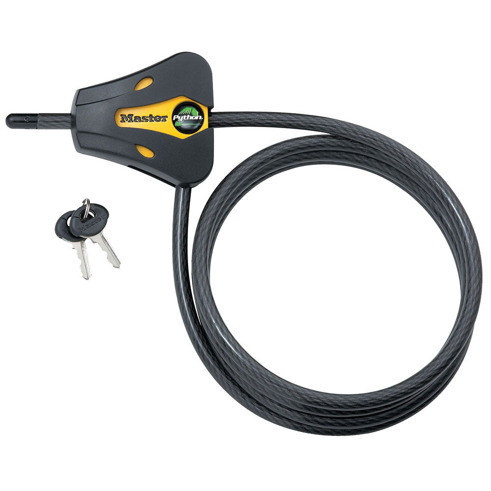 8419KA - 6ft (1.8m) Long x 5/16in (8mm) Diameter Python™ Adjustable Locking Cable; Yellow and Black; Keyed Alike