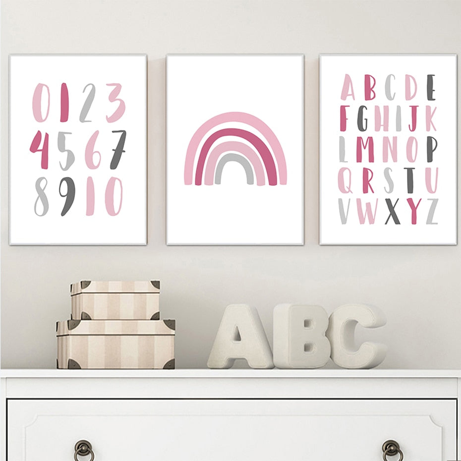 Alphabet and Numbers Pink
