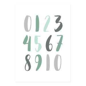 Alphabet and Numbers Green