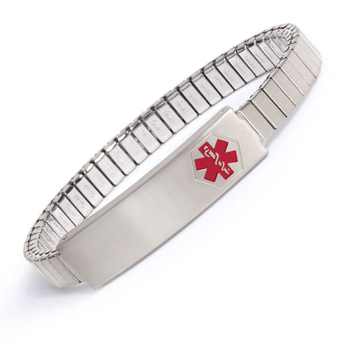 Ladies' Stainless Steel Medilog ID Bracelet with Compartment Plaque & Expansion Band