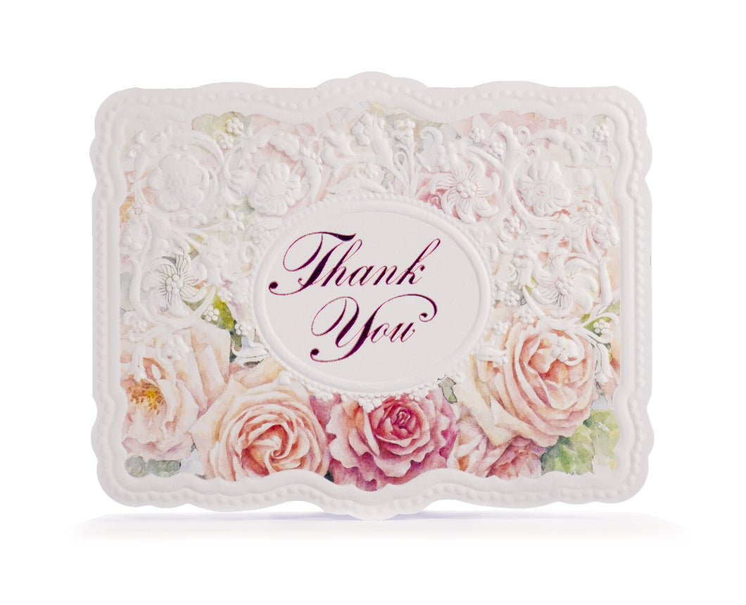 Apricot Roses & Lace Thank You Card Set