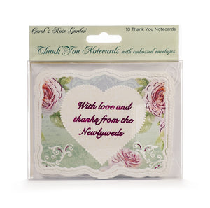 Wedding Heart & Roses Thank You Card Set
