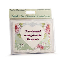 Load image into Gallery viewer, Wedding Heart & Roses Thank You Card Set