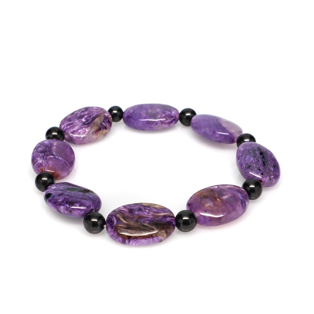 Charoite with Shungite Beads - Tumbed Bracelet ( 13 x 18 mm)