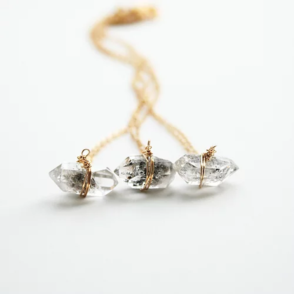 Herkimer Diamond Necklace - Gold Fill Chain