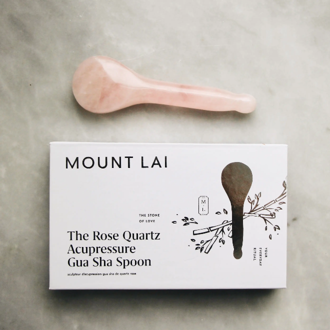 Rose Quartz Acupressure Gua Sha Spoon