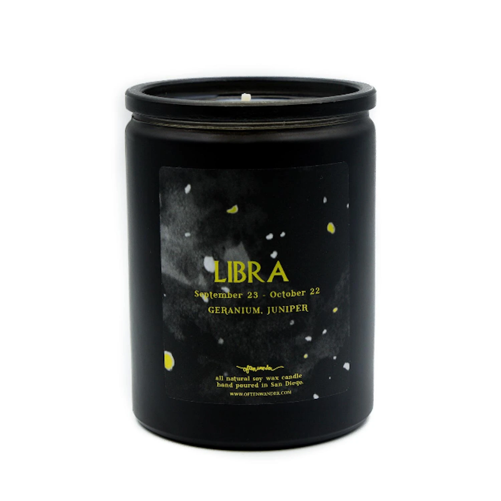 Libra: Geranium and Juniper - 12 Oz Soy Candle