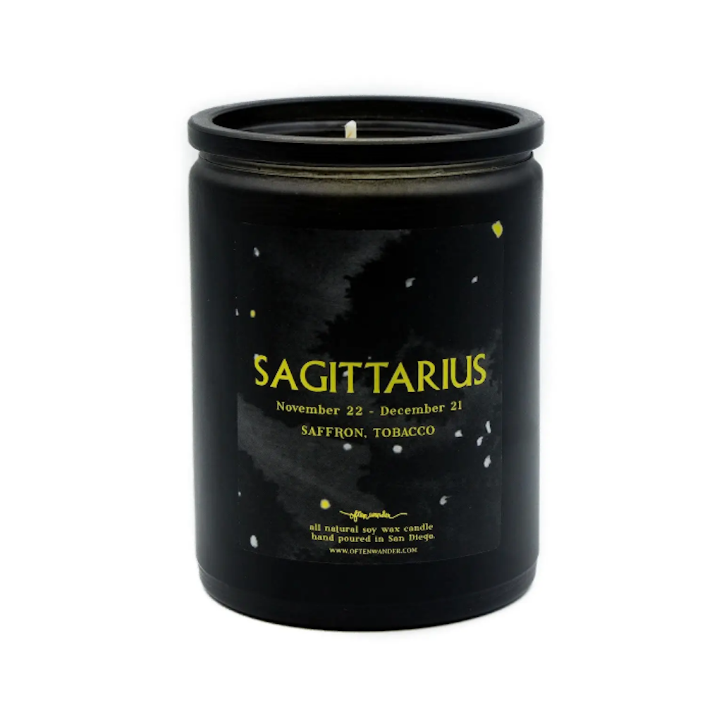 Sagitarius: Saffron and Tobacco. - 12 Oz Soy Candle
