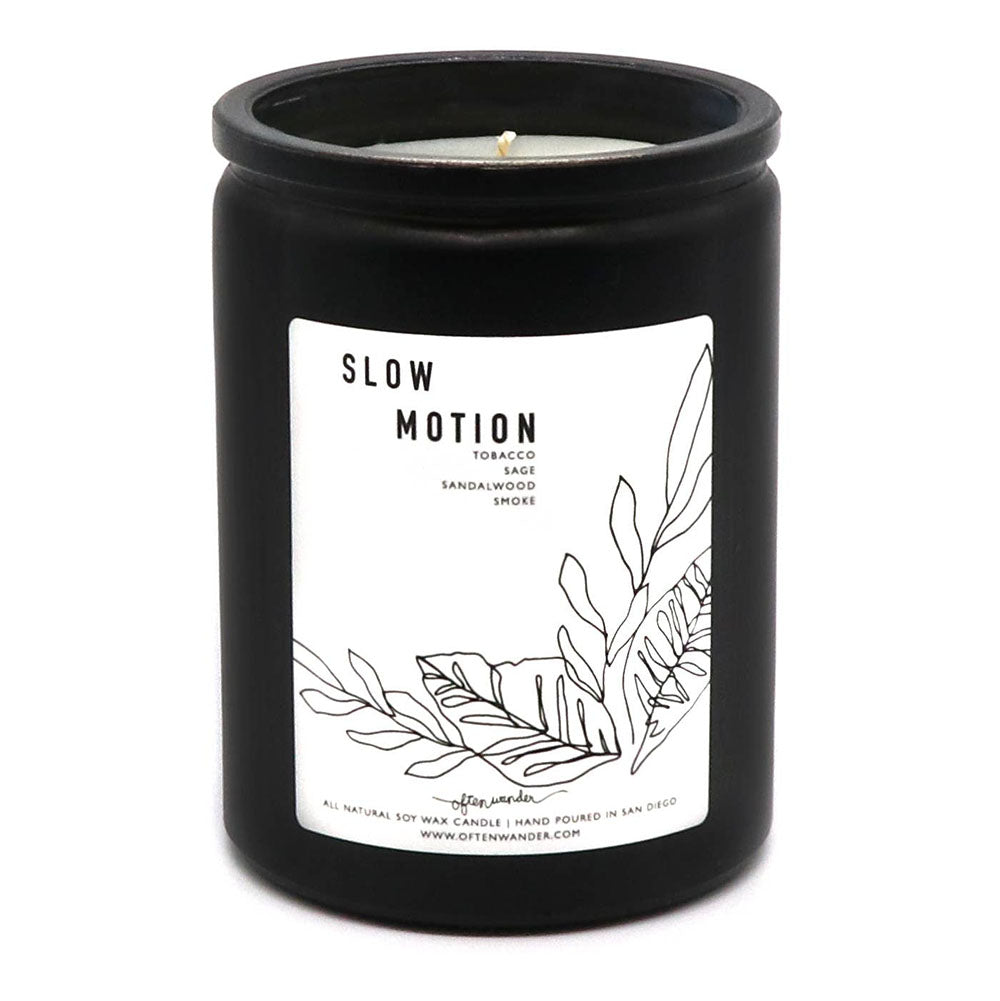 Slow Motion: Sage, Sandalwood, Tobacco, & Smoke - 12 oz Soy Candle