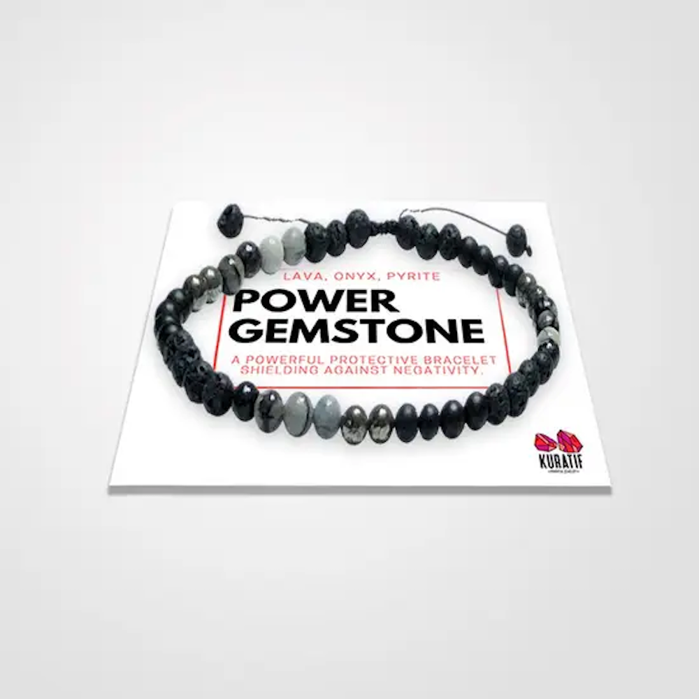 Power Gemstone Bracelet: Black Onyx, Pyrite, Jasper, & Lava Stone