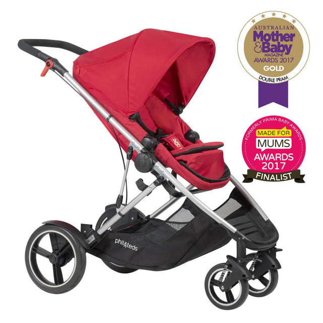 phil&teds award winning voyager buggy in red 3/4 view_red