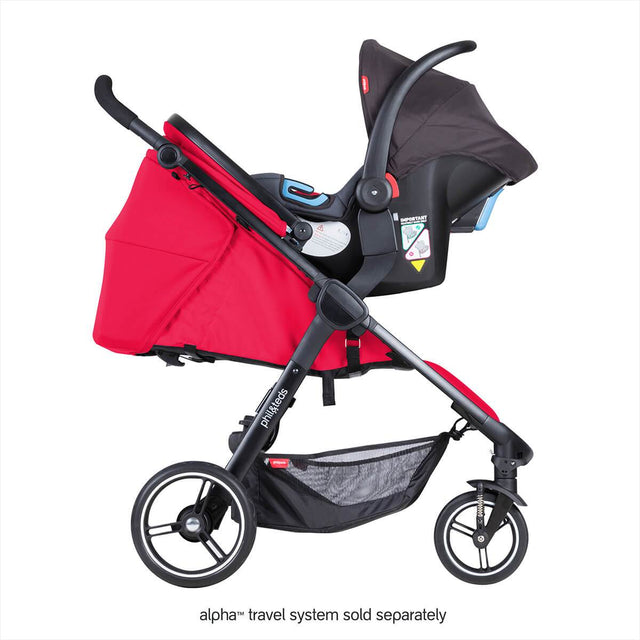 phil&teds smart stroller v3 cherry red with alpha carseat side view_cherry