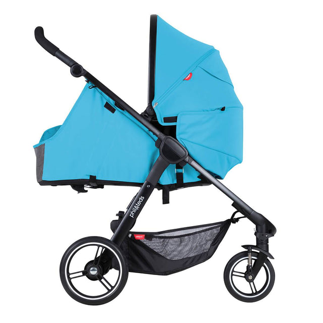 phil&rteds smart stroller v3 cyan blue lightweight travel cocoon parent facing position_cyan