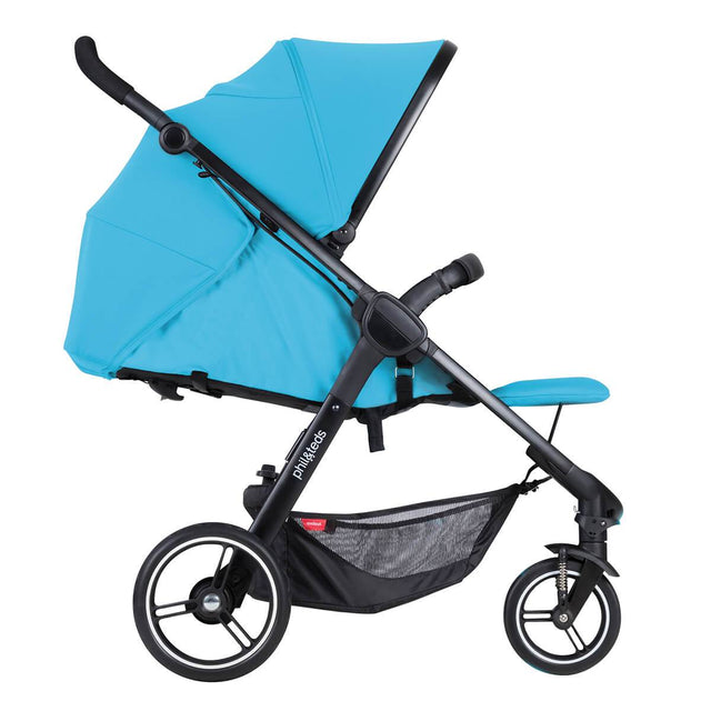 phil&teds smart stroller v3 cyan blue lightweight travel lie flat position side view_cyan