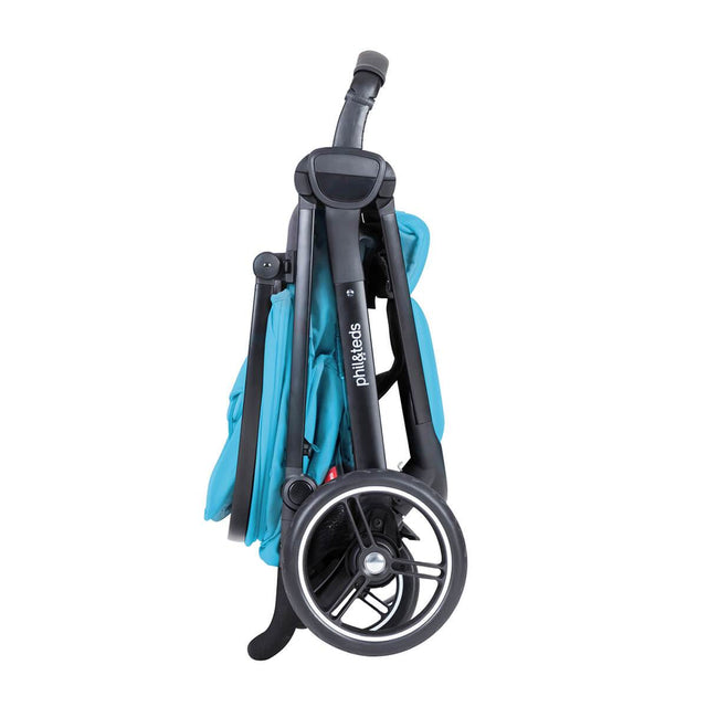 phil&teds smart stroller v3 cyan blue lightweight travel stand fold side view_cyan