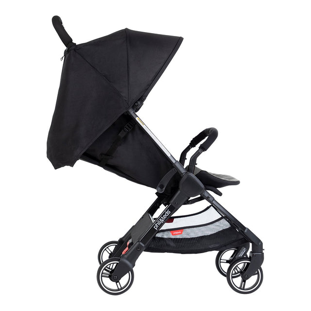 phil&teds go light and compact buggy recline in charcoal side view_charcoal