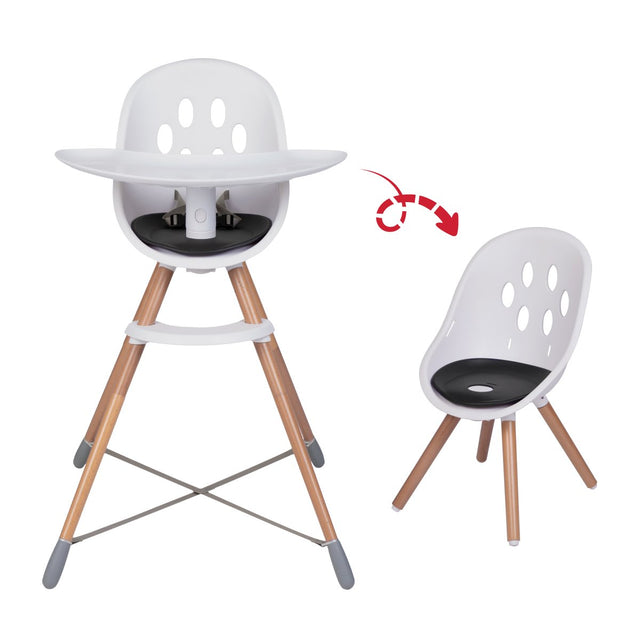 phil&teds award winning poppy high chair with wood legs showing dual high chair and my chair modes_black seat liner