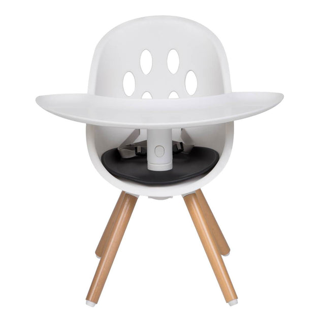 phil&teds award winning poppy high chair with wooden legs in my chair toddler seat mode with attached food tray_black seat liner