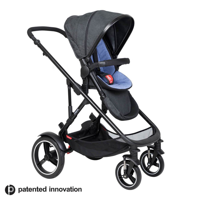 philandteds inline modular inline buggy in sky blue with seat in forward facing position 3qtr view_sky