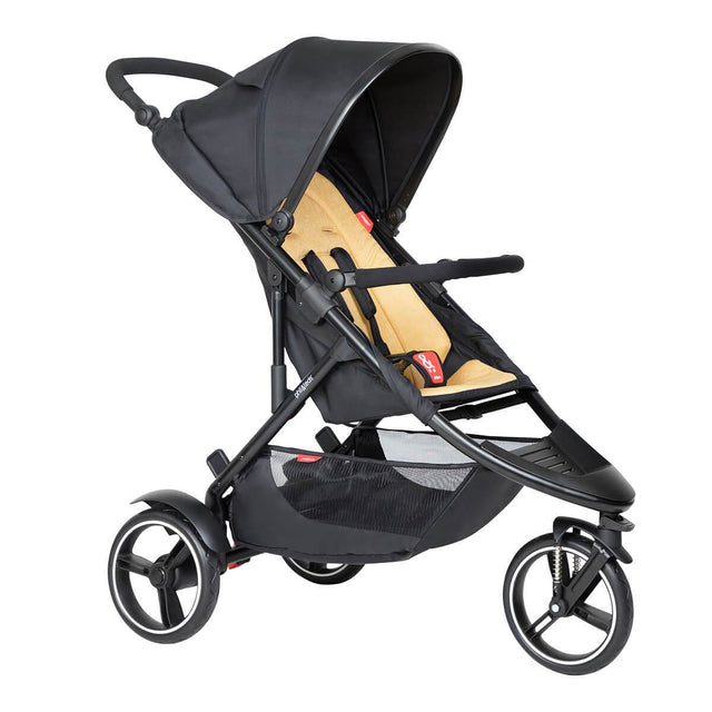 phil&teds dot buggy with butterscotch liner 3/4 view_butterscotch